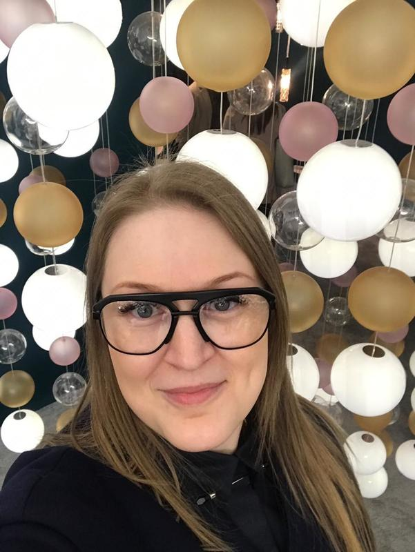 Ekaterina Elizarova at Salone del Mobile 2019 - Preciosa Lighting Booth - Geometric Pendants