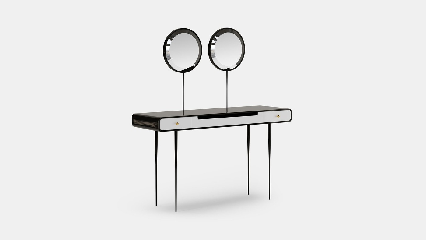 Accent Designer Vanity Table with Two Mirrors - Alien by Ekaterina Elizarova