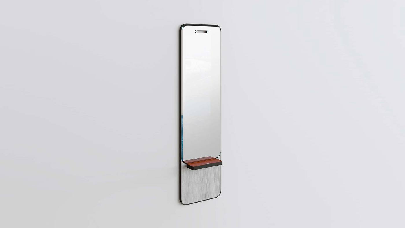 Modern Wall Mounted Mirror with Shelf - Manhattan Mirrors by Ekaterina Elizarova