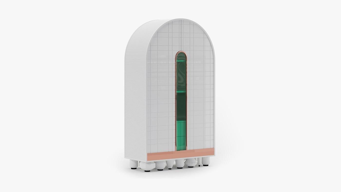 High-Gloss Storage Cabinet - Egocentric White by Ekaterina Elizarova