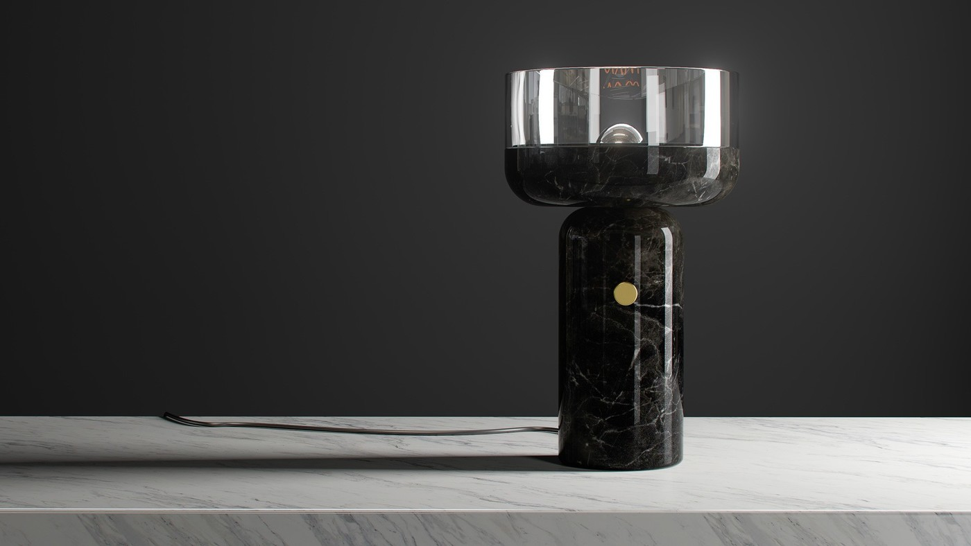 Designer Black Marble Table Lamp with Glass Shade - Andromeda Coppa by Ekaterina Elizarova
