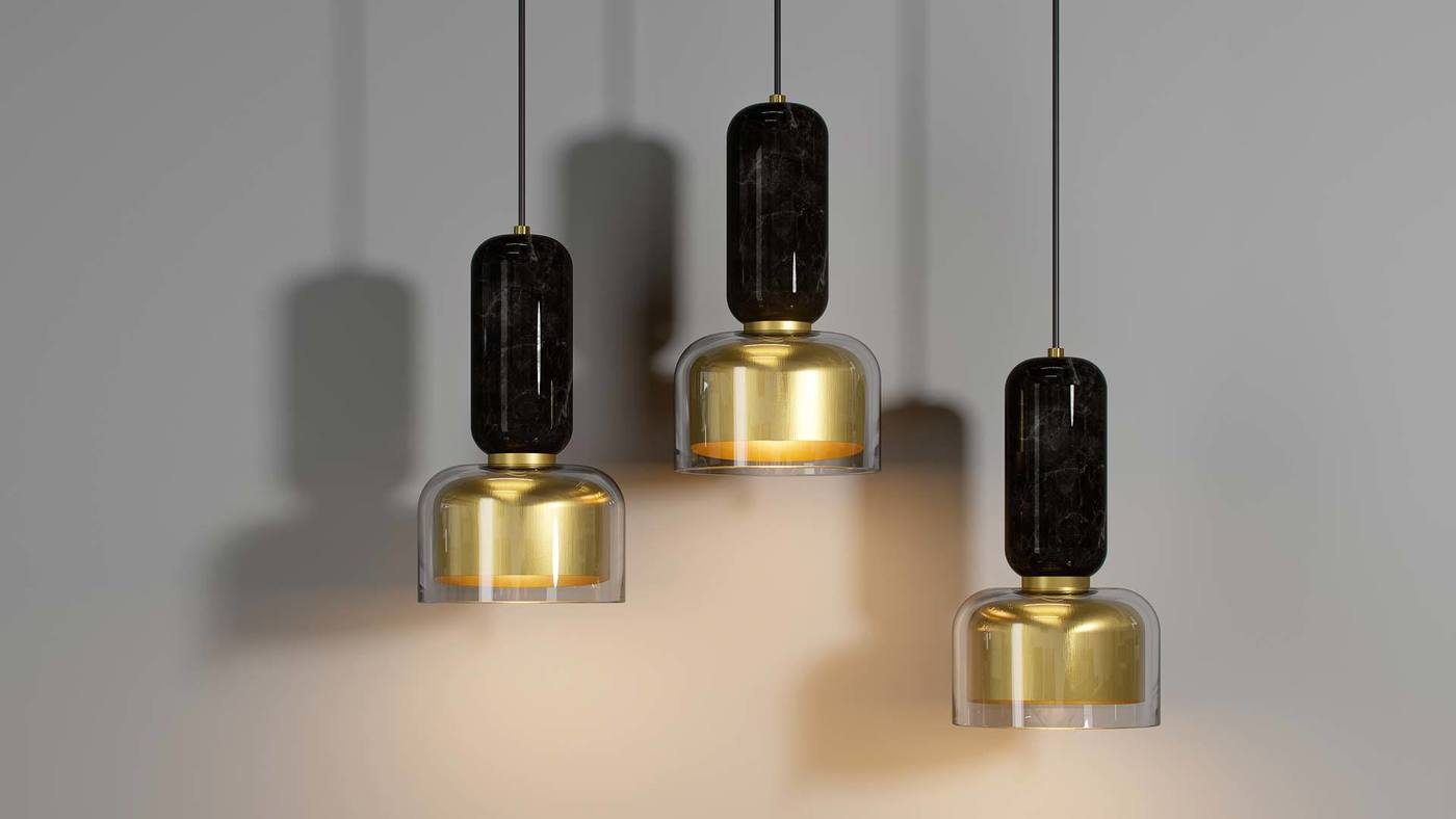 Pendant Lamps Featuring the Showy Marquina Black Marble - Andromeda by Ekaterina Elizarova