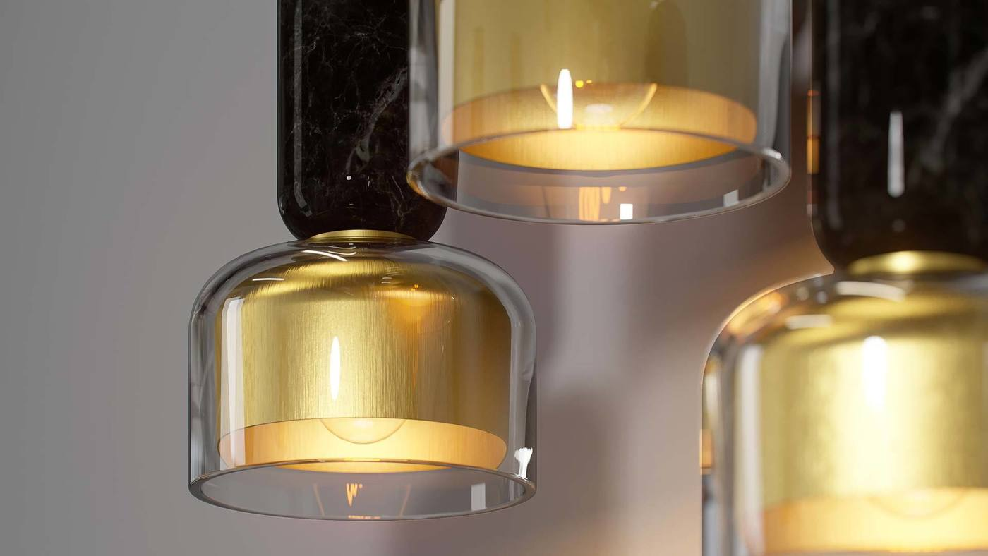 Accent Pendant Lights with Glass and Brass Shades - Andromeda by Ekaterina Elizarova