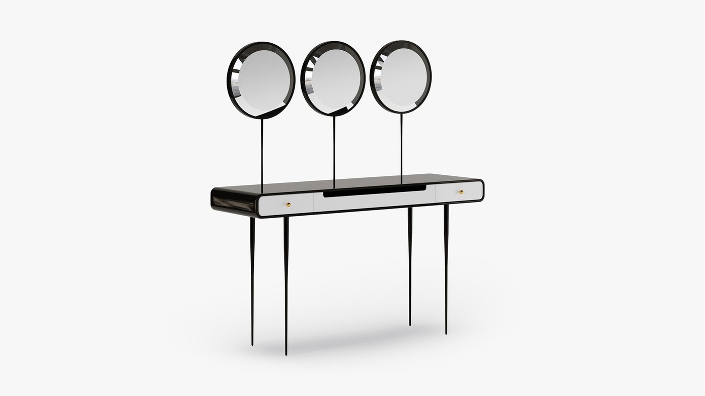 Designer vanity table with three mirrors and drawers - Alien 3.0 by Ekaterina Elizarova