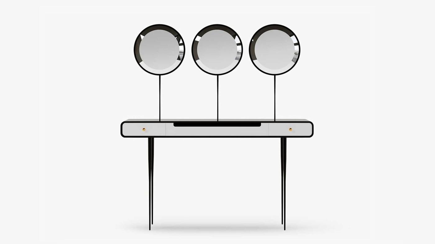 Accent Black and White Designer Makeup Desk - Alien 3.0 by Ekaterina Elizarova