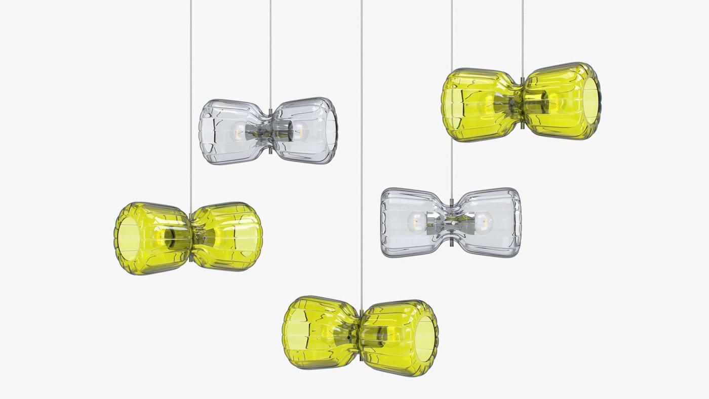 Versatile Hanging Lamp Design - Yellow and Grey Glass Pendants - Butterfly by Ekaterina Elizarova