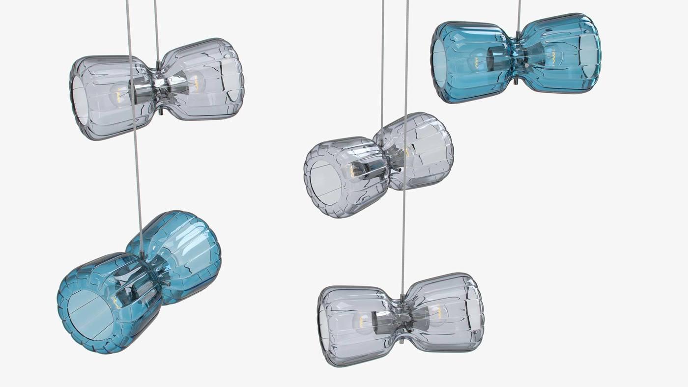Grey and Midnight-Blue Glass Pendants - Butterfly by Ekaterina Elizarova