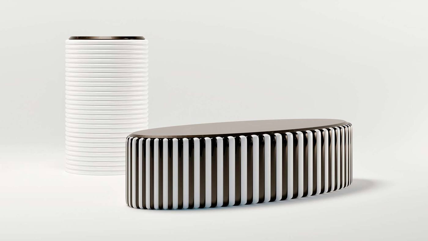 High-Gloss Brown and White Coffee Tables with Marble Top - B&W by Ekaterina Elizarova