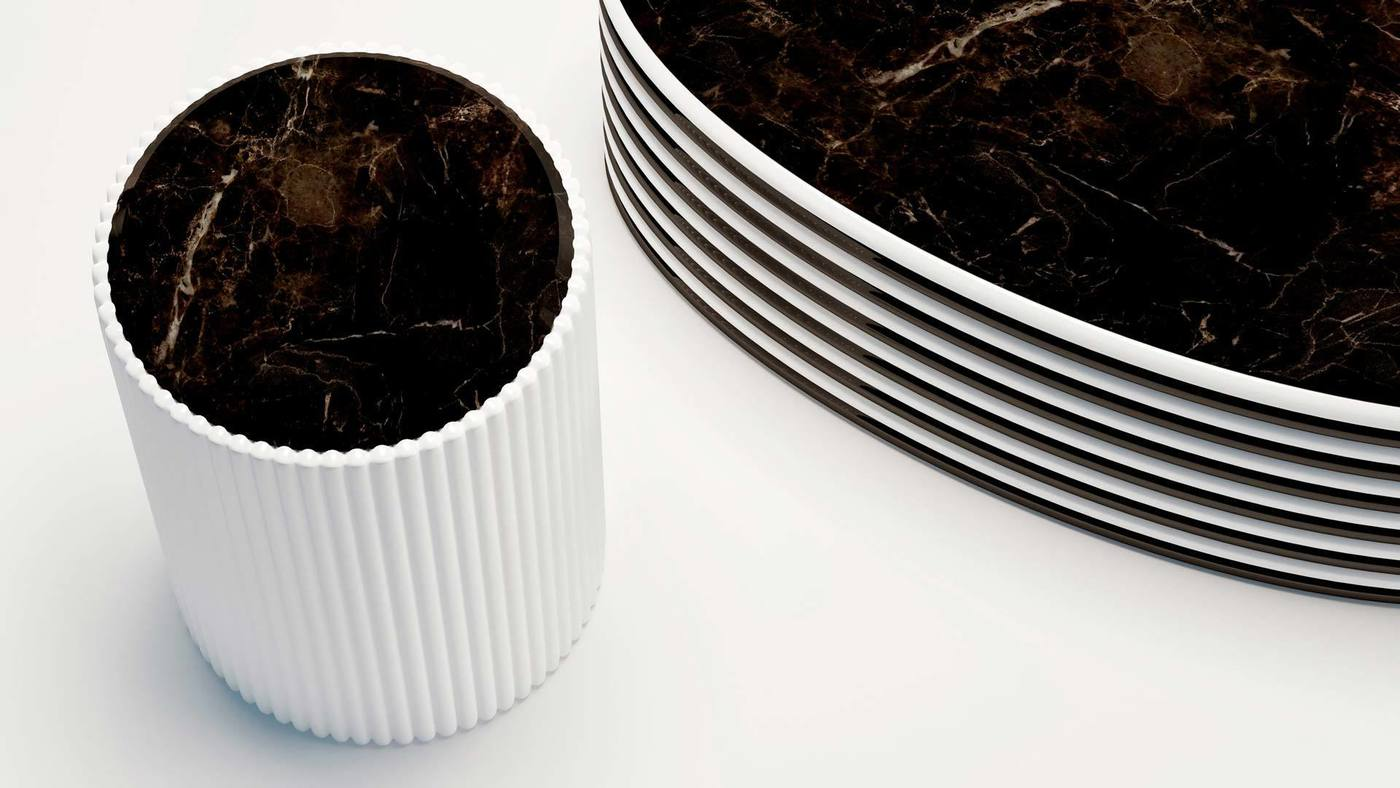 Designer Black and White Striped Drum Side Tables - B&W by Ekaterina Elizarova