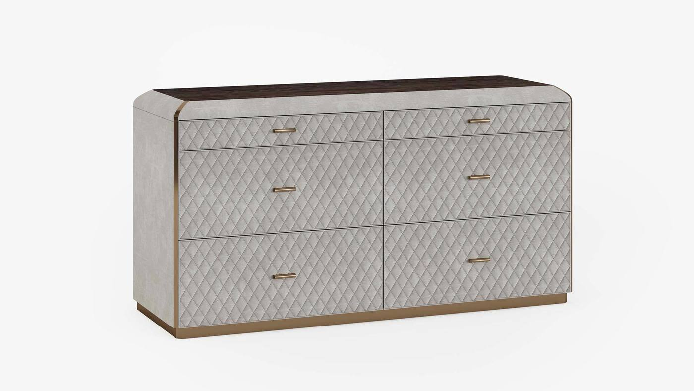 Contemporary Designer Dresser with Chesterfield Upholstered Facades - Orion Chest of Drawers by Ekaterina Elizarova and Capital Collection