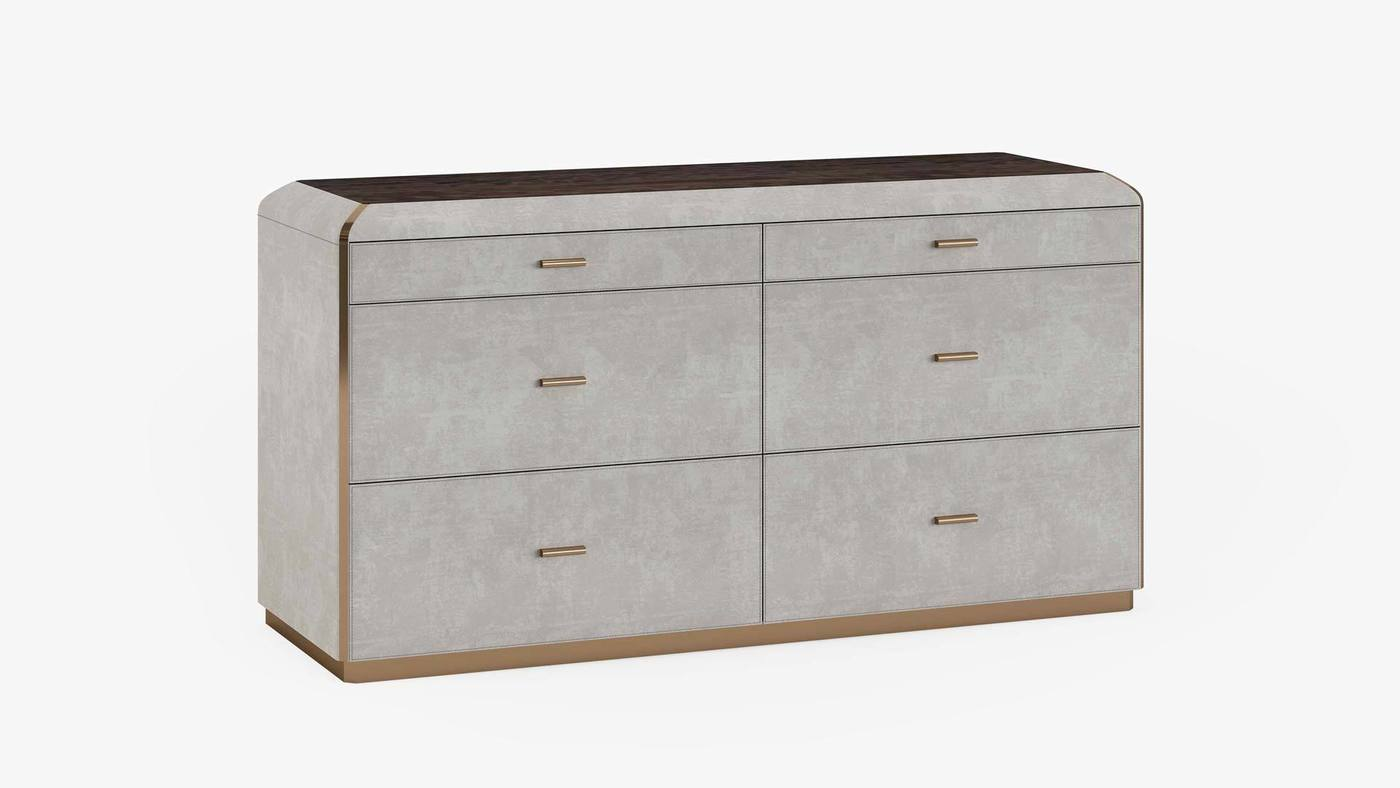Designer Bedroom Upholstered Cabinet with Six Drawers - Orion Chest of Drawers by Ekaterina Elizarova and Capital Collection