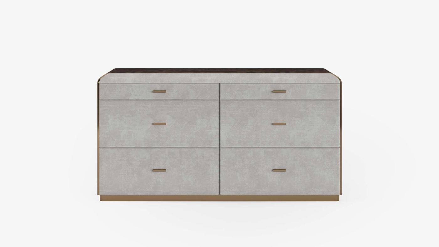 Designer Double-Row Dresser with Flat Upholstered Facades - Orion Chest of Drawers by Ekaterina Elizarova and Capital Collection
