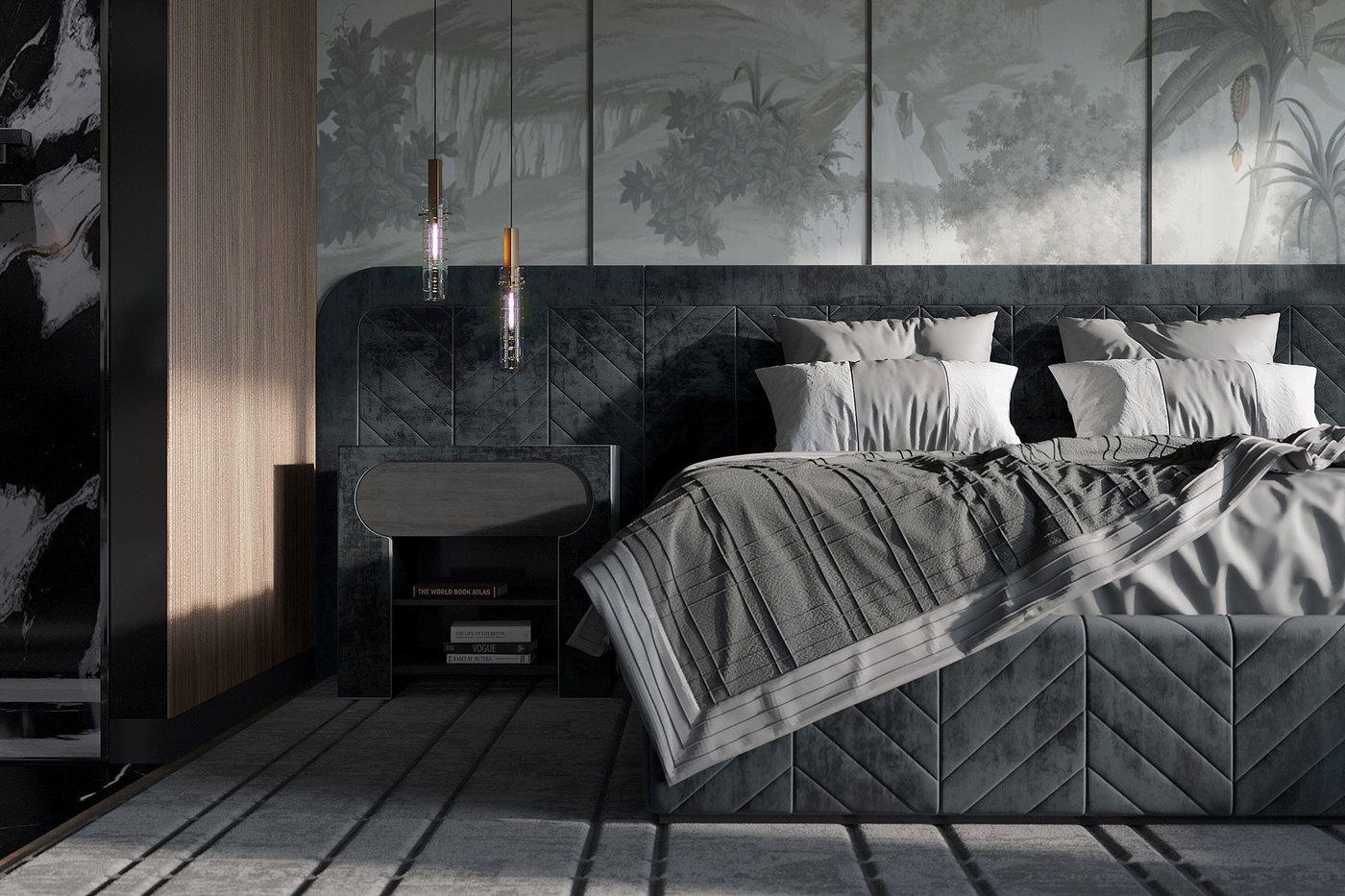 Кровать Ceccotti от Винченцо де Котиса, ковёр Quadrilatte и подвесные светильники Preciosa Geometric от Екатерины Елизаровой - Elizarova Design Studio