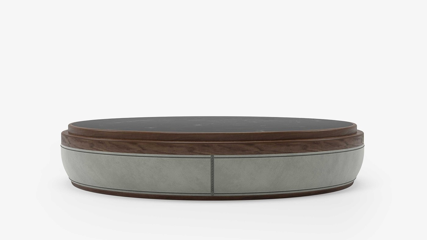 Drums - Coffee Table low, gray leather, walnut, black marble