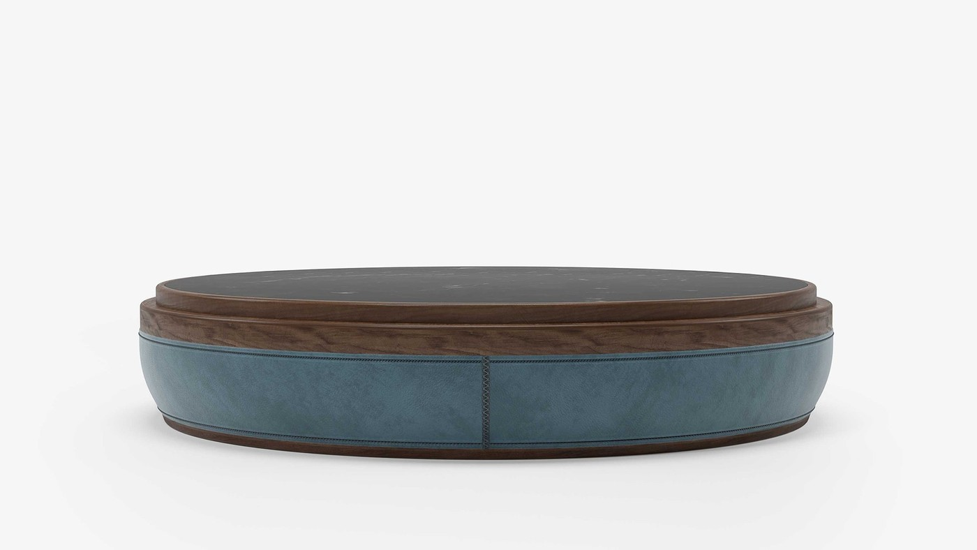 Round coffee table, gray leather, walnut, black marble marquina.