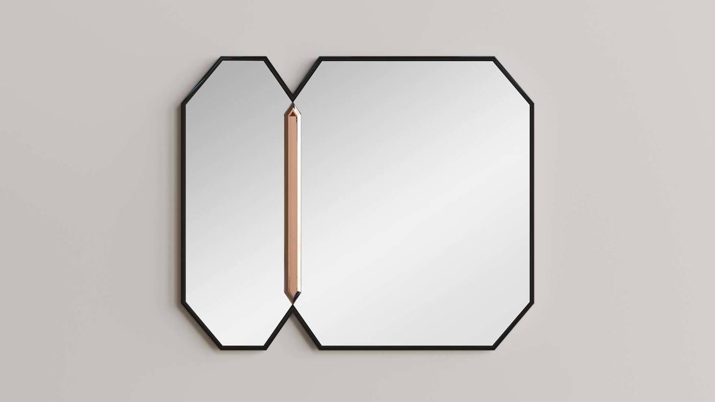 Большое подвесное зеркало в чёрной раме - Crystalista от Екатерины Елизаровой