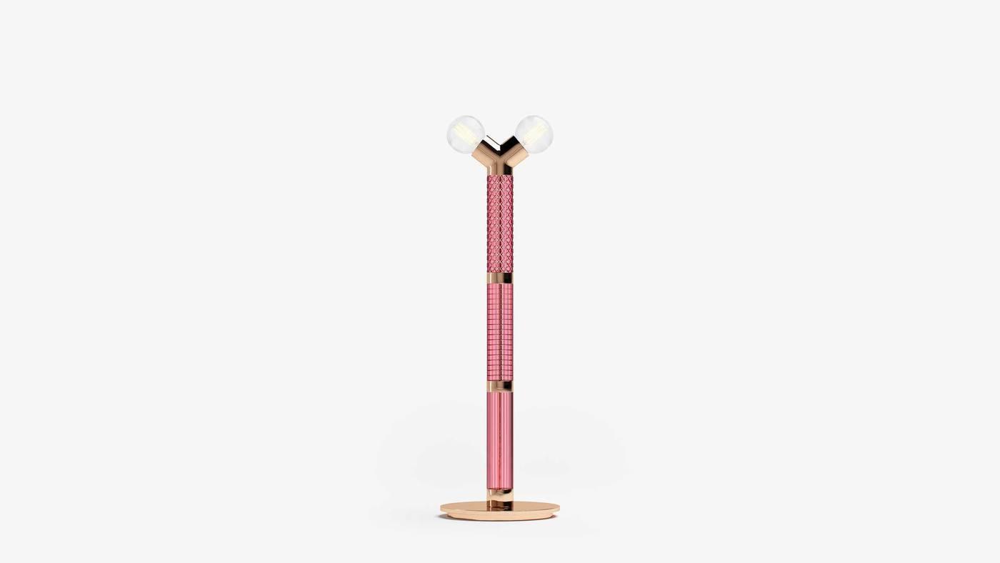 Розовый стеклянный наполный светильник - Dual Floor от Екатерины Елизаровой