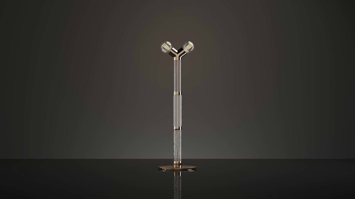 Double-Bulb Torchiere Made from White Glass  - Dual Floor by Ekaterina Elizarova