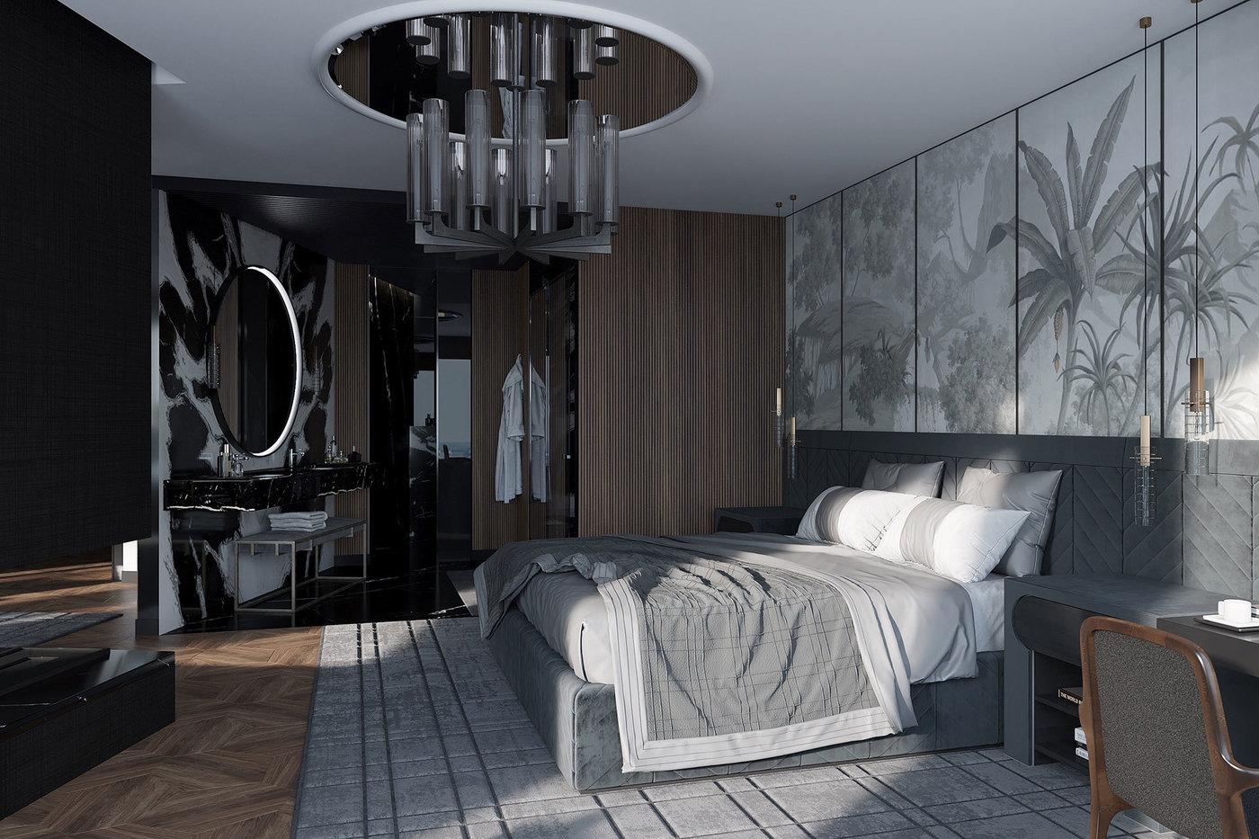 De Gournay Chinoiserie Wallpaper in Bedroom - Elizarova Design Studio