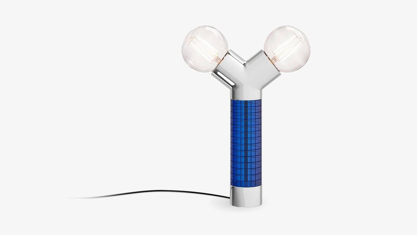 Синий двойной настольный светильник из стекла и металла - Dual от Екатерины Елизаровой