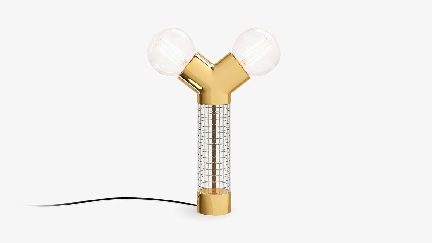 Золотистый двухголовый настольный светильник - Dual от Екатерины Елизаровой
