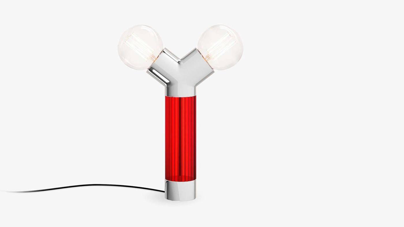 Красно-белый двойной настольный светильник - Dual от Екатерины Елизаровой