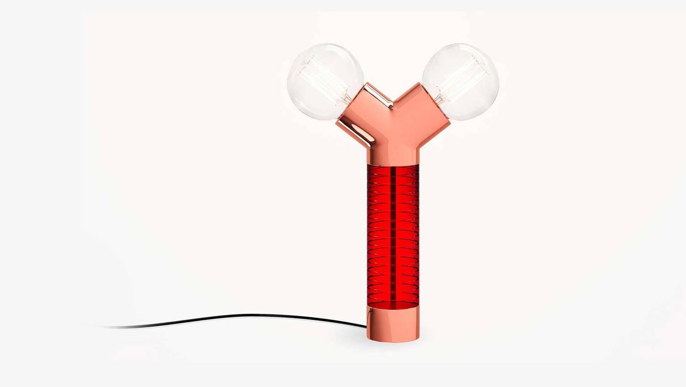 Красный двухголовый настольный светильник - Dual от Екатерины Елизаровой