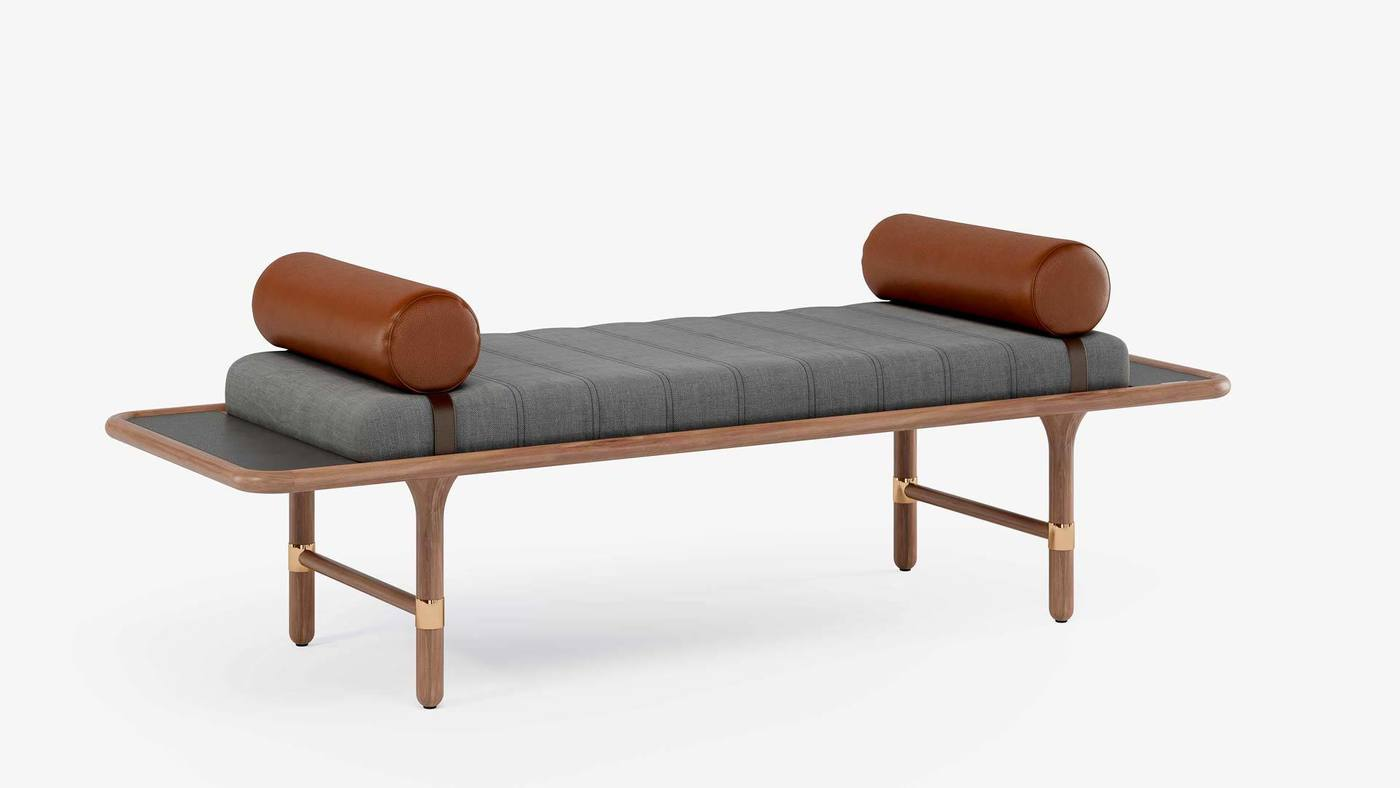 Designer Soft Bedside Bench with Leather Bolsters - Manhattan Daybed by Ekaterina Elizarova
