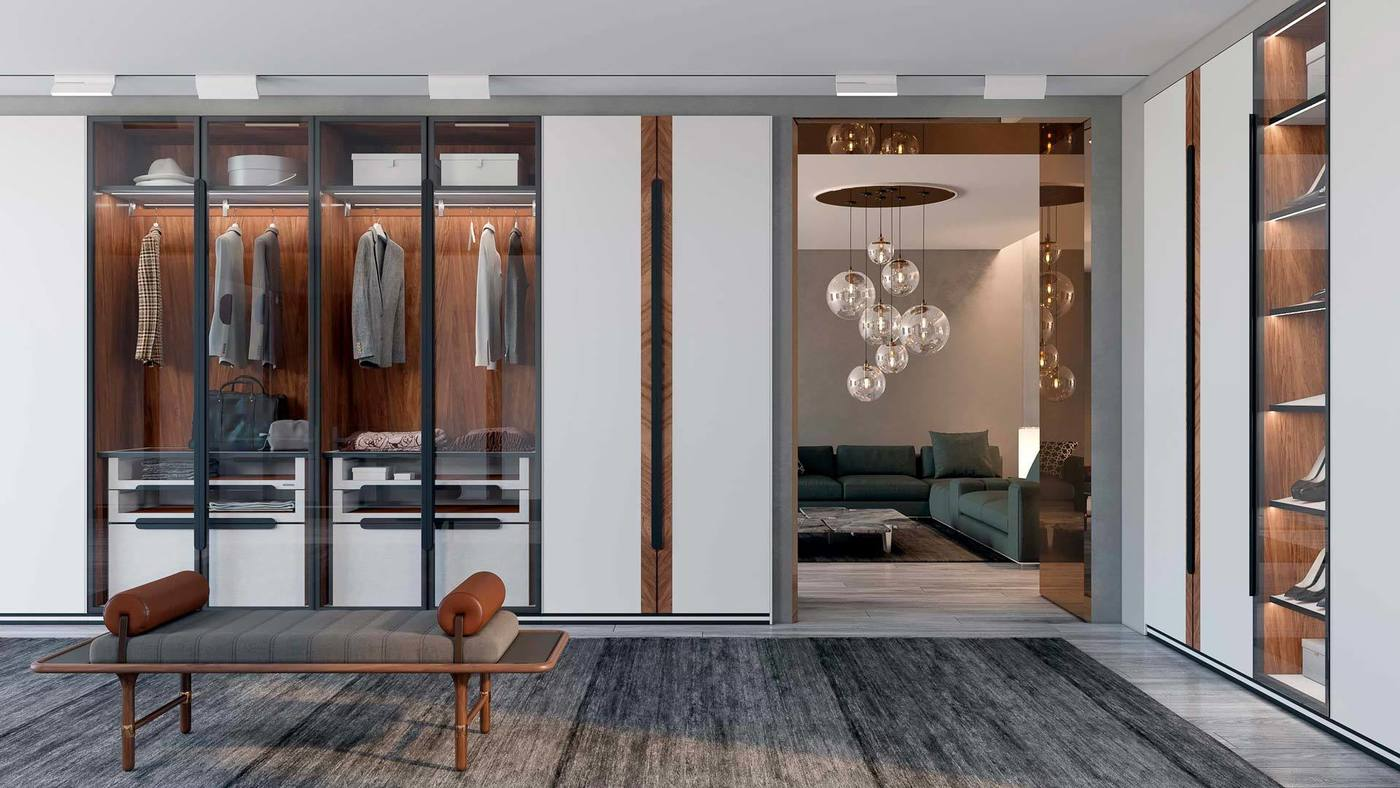 Designer Wardrobe Closet Including a Bench with Bolsters - Manhattan by Ekaterina Elizarova and Giulia Novars