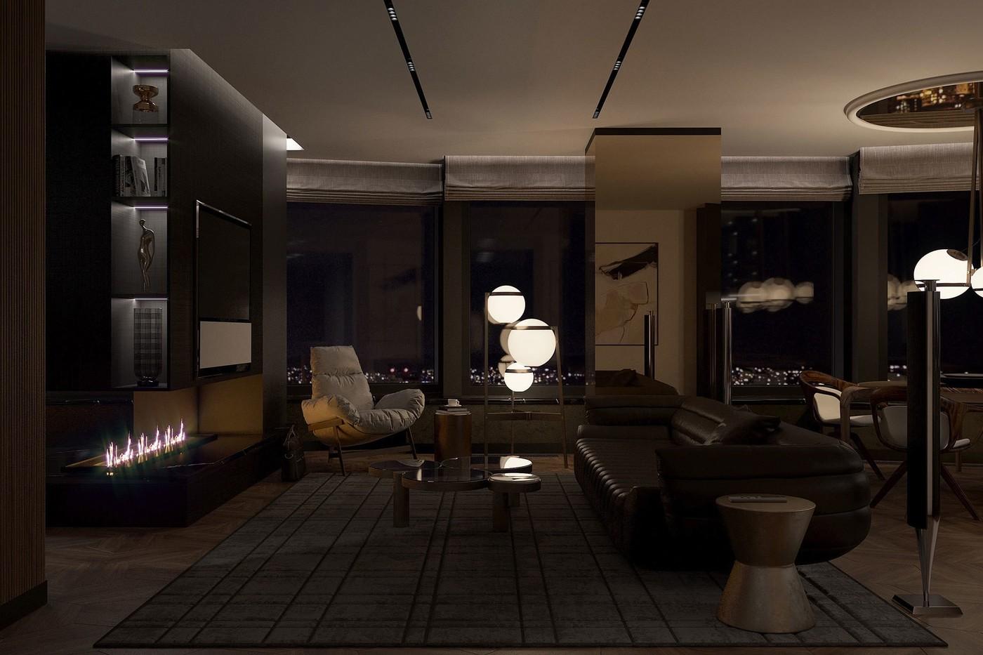 Мужская квартира ночью - Elizarova Design Studio