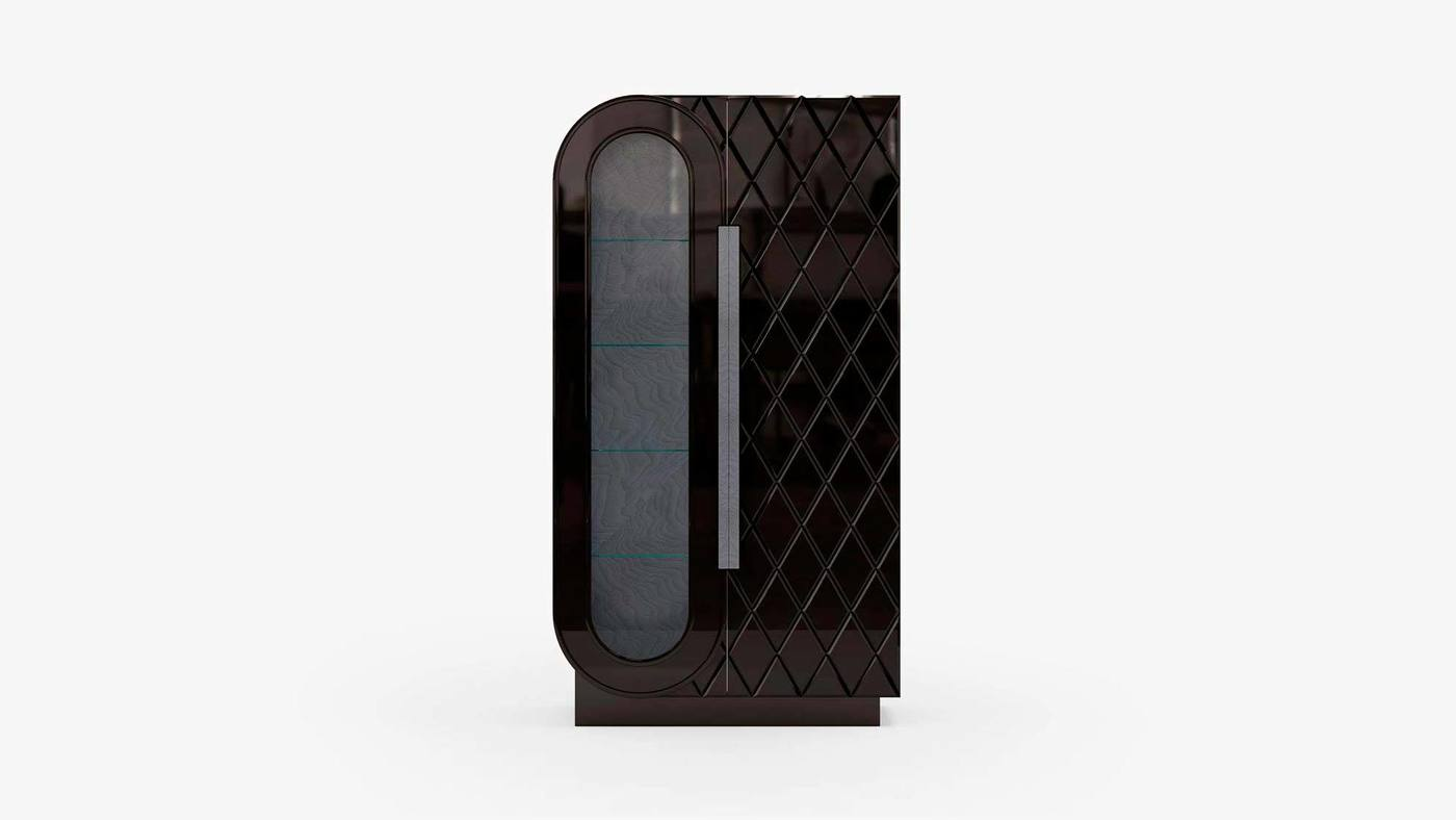 Modern Glass Door Cabinet - Infinity Black by Ekaterina Elizarova