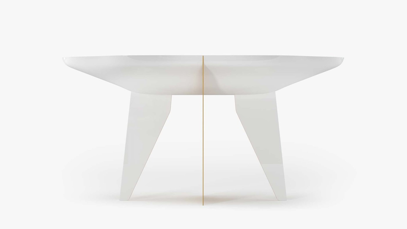 White High-Gloss Console Table - Noah by Ekaterina Elizarova