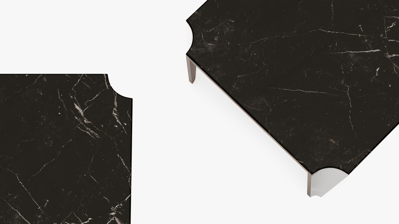 Designer Cocktail Table with Marquina Black Marble Top  - Niagara by Ekaterina Elizarova