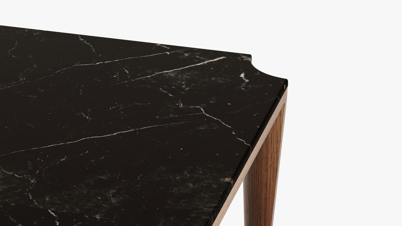 Designer Low Table Made from Wood and Marble  - Niagara by Ekaterina Elizarova