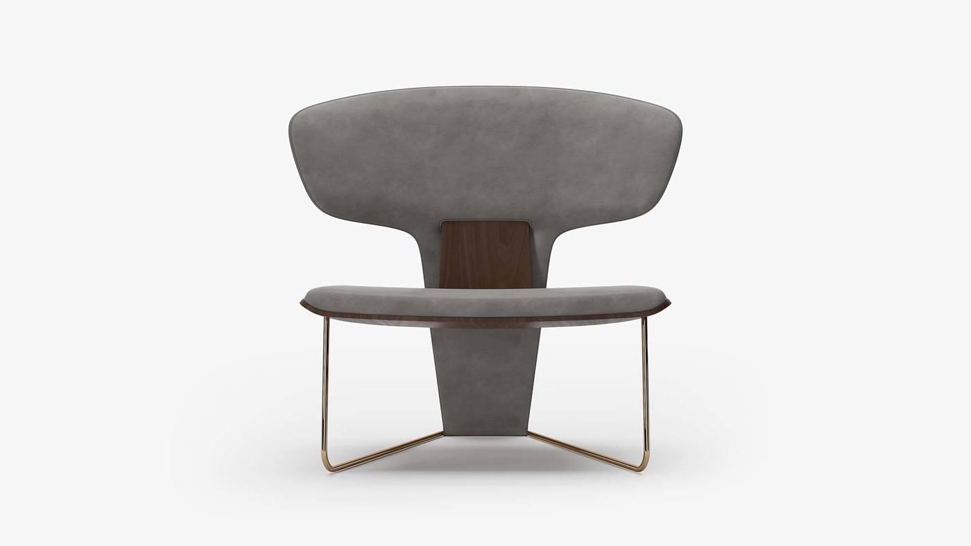 Дизайнерское кресло с низкой посадкой в серой обивке - Orchid от Екатерины Елизаровой
