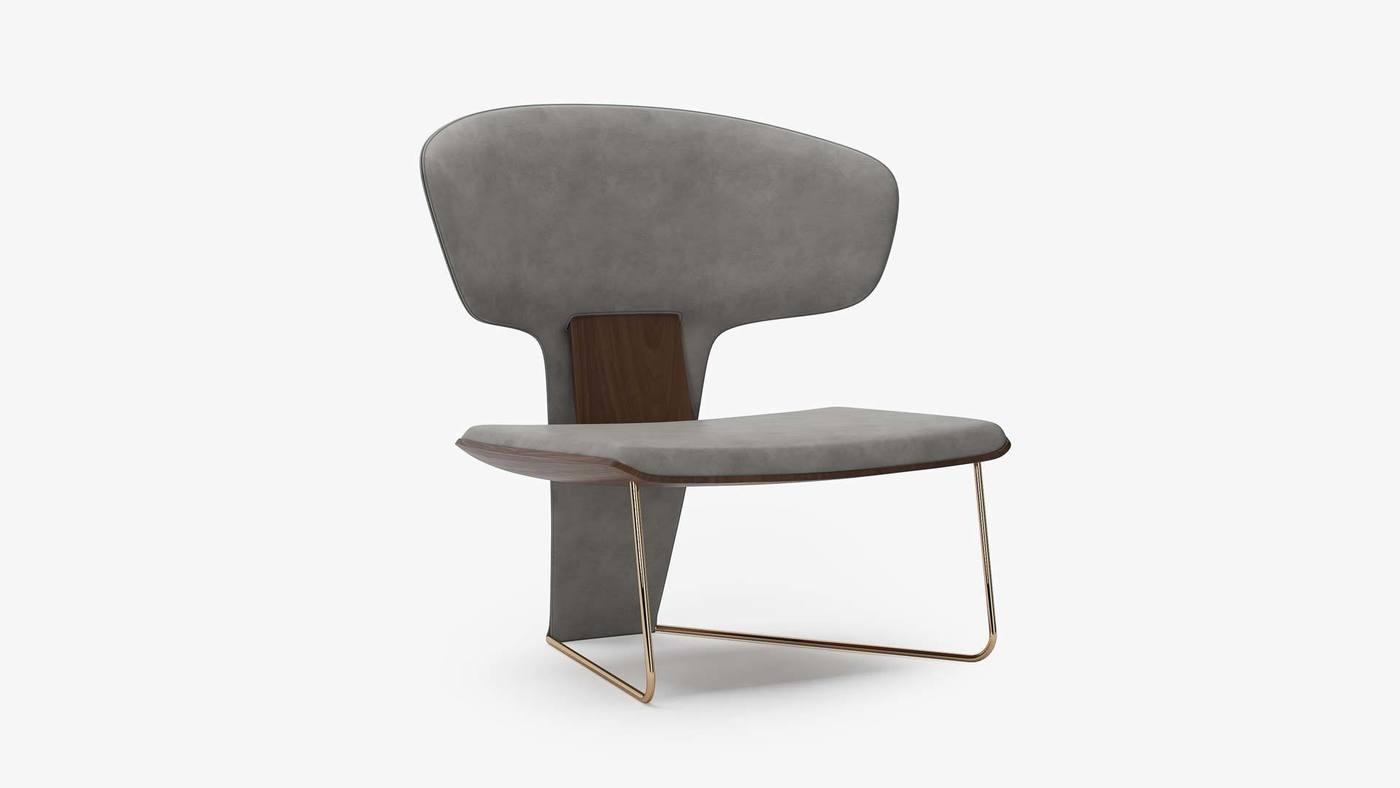 Серое дизайнерское кресло с мягкой обивкой - Orchid от Екатерины Елизаровой