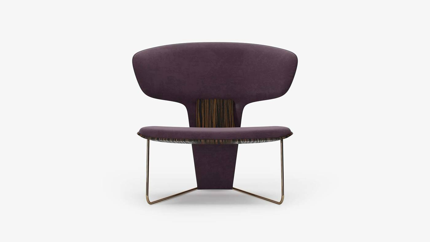 Low Purple Designer Upholstered Chair - Orchid by Ekaterina Elizarova