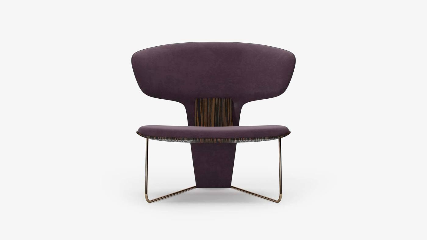 Дизайнерское фиолетовое кресло с низкой посадкой - Orchid от Екатерины Елизаровой