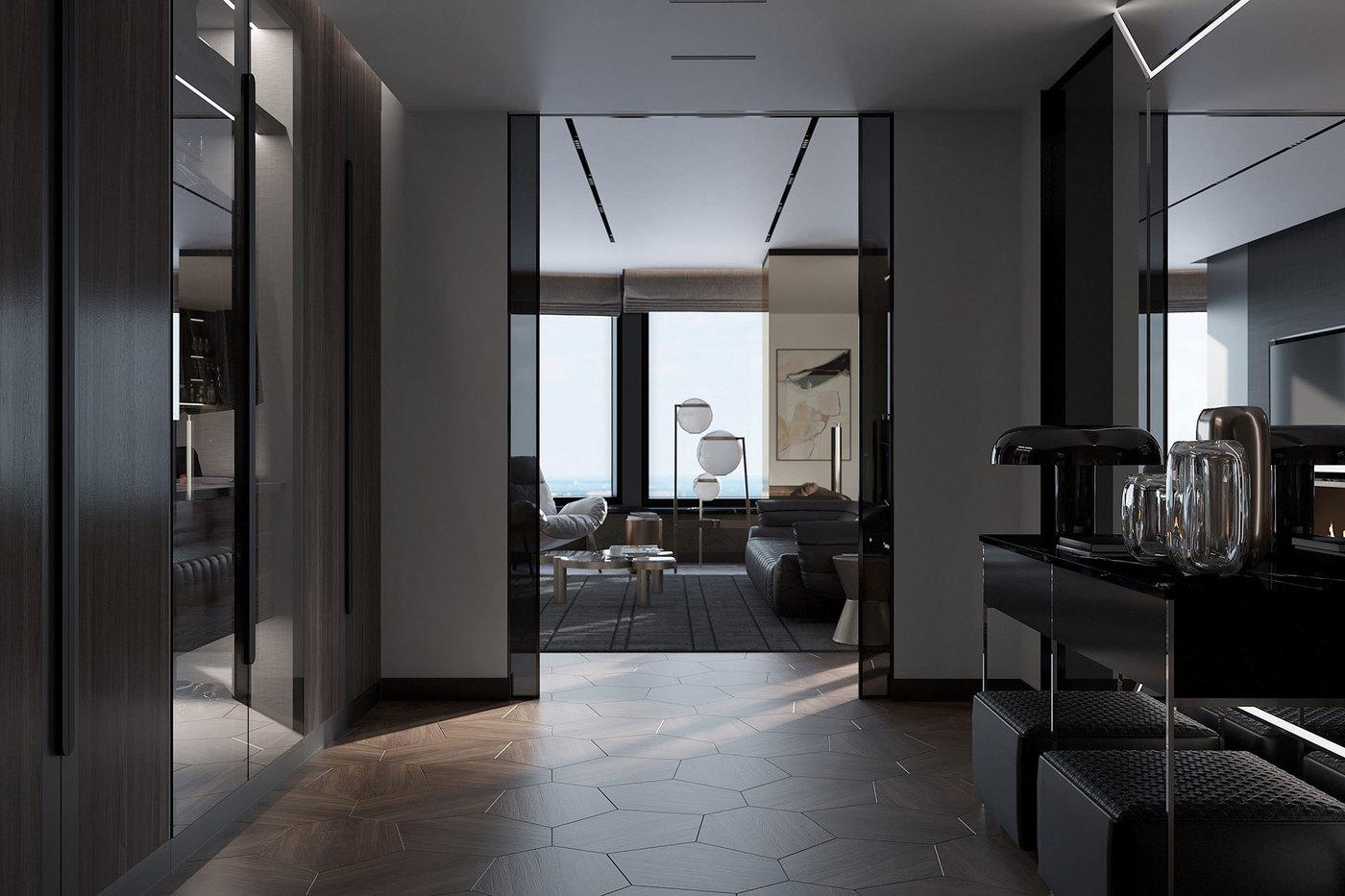Открытая планировка квартиры в небоскрёбе - Elizarova Design Studio