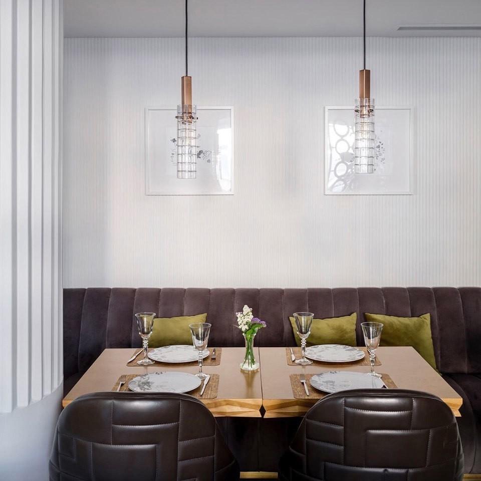 Preciosa Geometric Pendants in Restaurant - Elizarova Design Studio