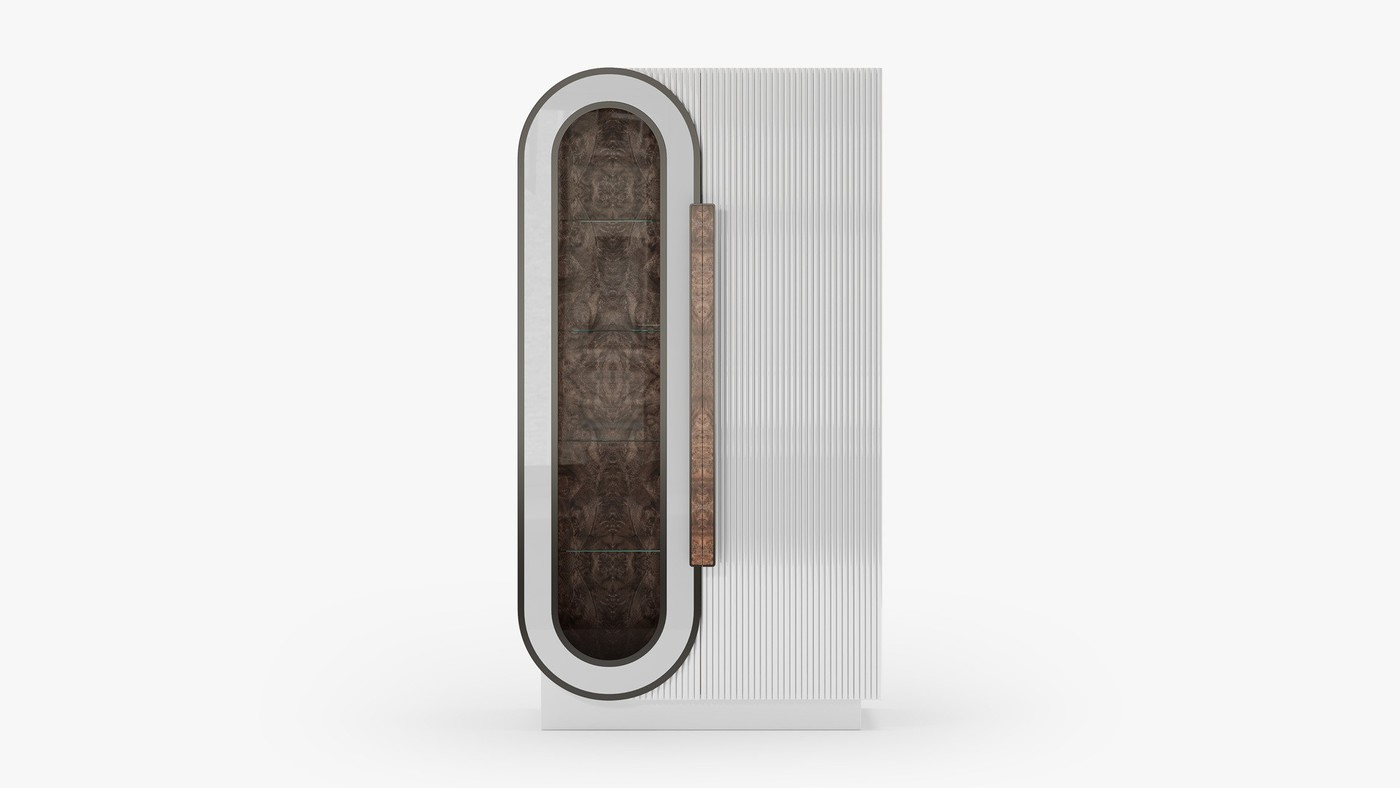 Contemporary Glass Door Cabinet - Infinity White by Ekaterina Elizarova