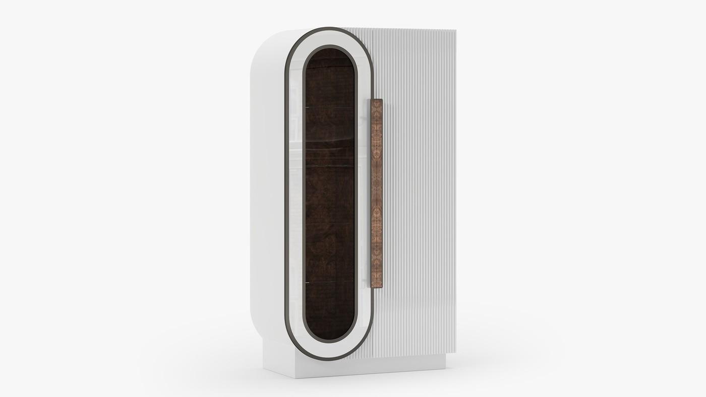 Современный стильный шкаф со стеклянной дверцей - Infinity White от Екатерины Елизаровой